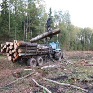 Трактрорная телега  SV10 c манипулятором на погрузке леса